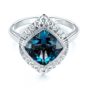 London Blue Topaz and Diamond Fashion Ring