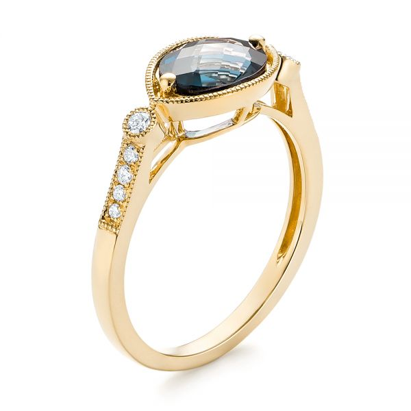 18k Yellow Gold 18k Yellow Gold London Blue Topaz And Diamond Fashion Ring - Three-Quarter View -  103765