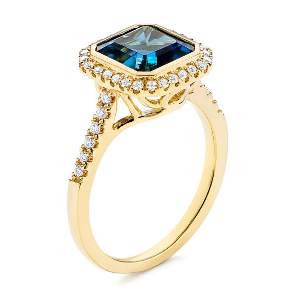 London Blue Topaz and Diamond Fashion Ring - Image