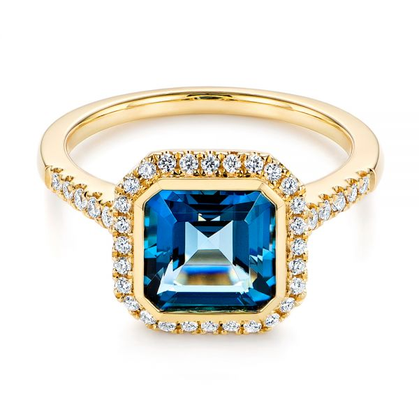 14k Yellow Gold London Blue Topaz And Diamond Fashion Ring - Flat View -