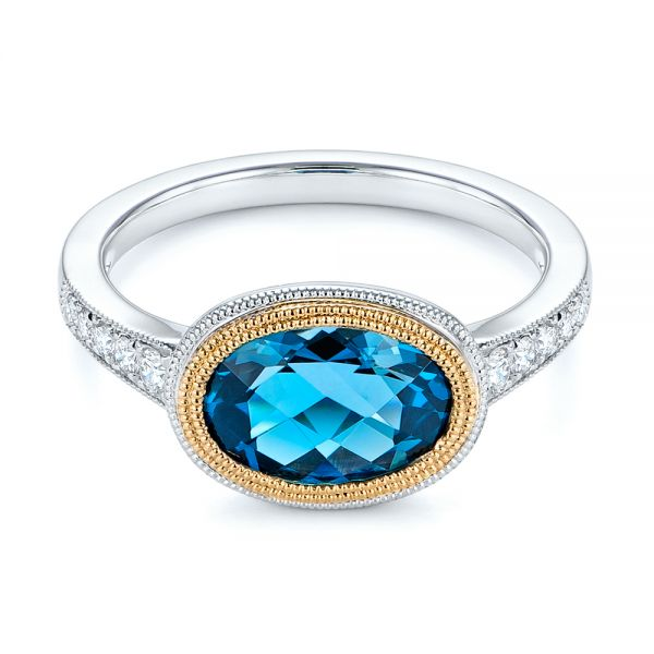 London Blue Topaz And Diamond Fashion Ring - Flat View -