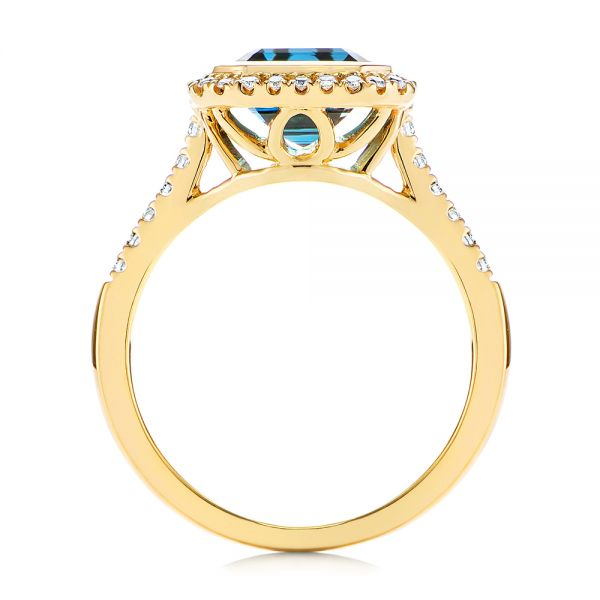 14k Yellow Gold London Blue Topaz And Diamond Fashion Ring - Front View -