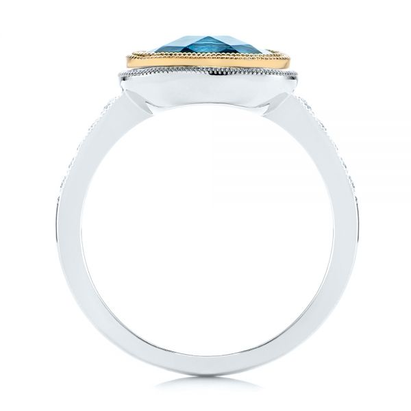 London Blue Topaz And Diamond Fashion Ring - Front View -