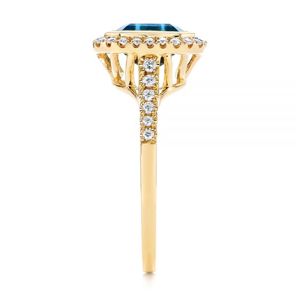 14k Yellow Gold London Blue Topaz And Diamond Fashion Ring - Side View -