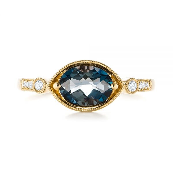 18k Yellow Gold 18k Yellow Gold London Blue Topaz And Diamond Fashion Ring - Top View -  103765