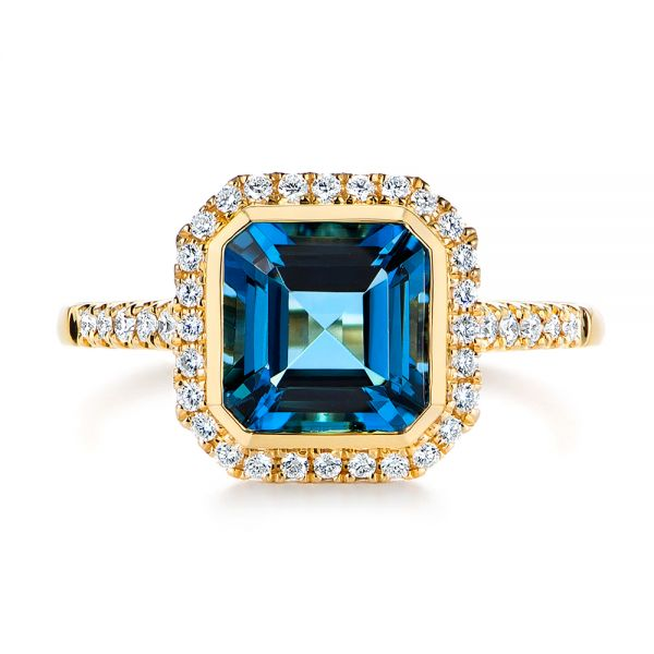 14k Yellow Gold London Blue Topaz And Diamond Fashion Ring - Top View -