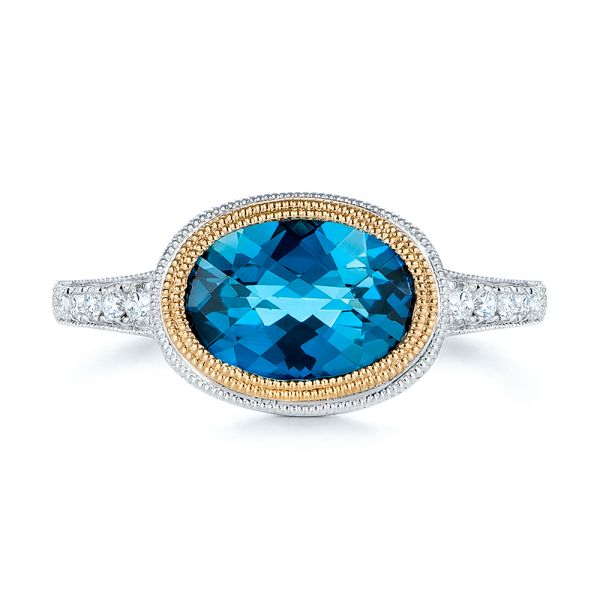 London Blue Topaz And Diamond Fashion Ring - Top View -