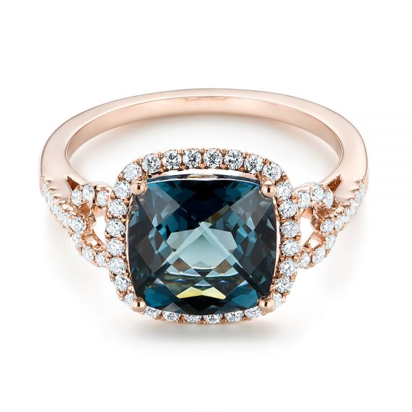 14k Rose Gold London Blue Topaz And Diamond Halo Fashion Ring - Flat View -  103767