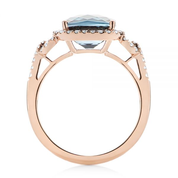 14k Rose Gold London Blue Topaz And Diamond Halo Fashion Ring - Front View -  103767