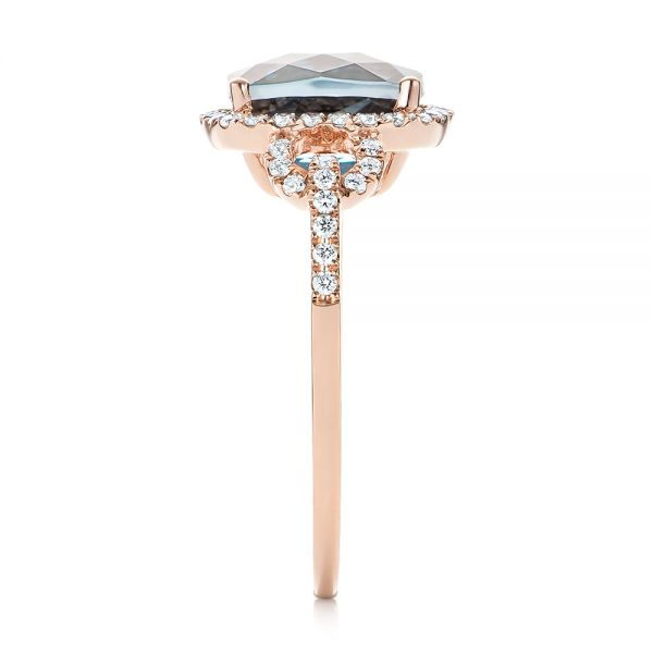 14k Rose Gold London Blue Topaz And Diamond Halo Fashion Ring - Side View -  103767