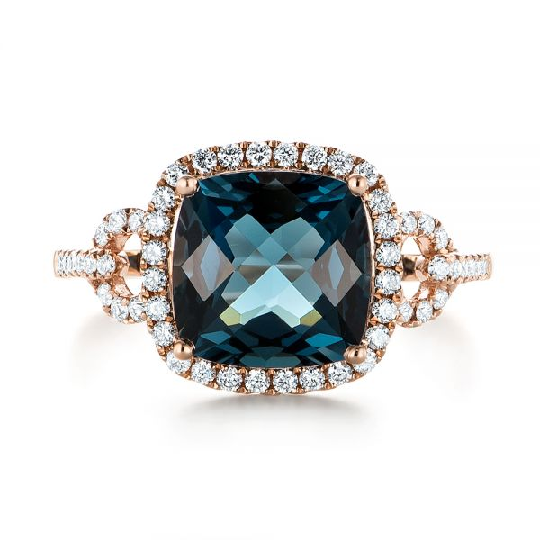 14k Rose Gold London Blue Topaz And Diamond Halo Fashion Ring - Top View -  103767