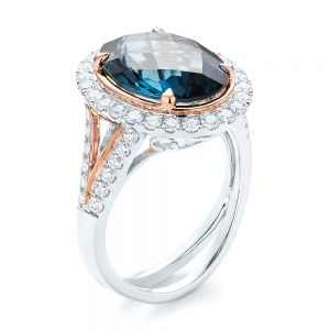 London Blue Topaz and Diamond Halo Fashion Ring