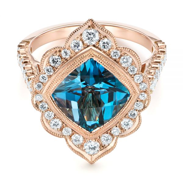 14k Rose Gold London Blue Topaz And Diamond Ring - Flat View -