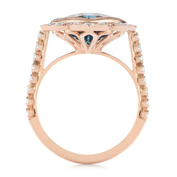 14k Rose Gold London Blue Topaz And Diamond Ring - Front View -