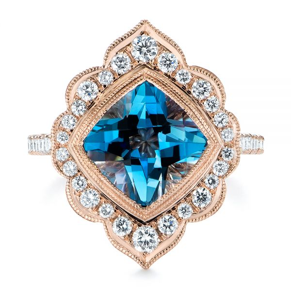 14k Rose Gold London Blue Topaz And Diamond Ring - Top View -