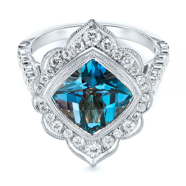 18k White Gold 18k White Gold London Blue Topaz And Diamond Ring - Flat View -