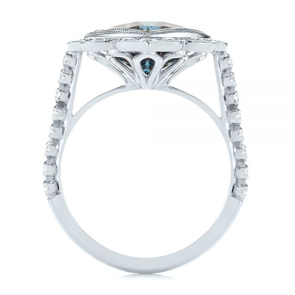 18k White Gold 18k White Gold London Blue Topaz And Diamond Ring - Front View -