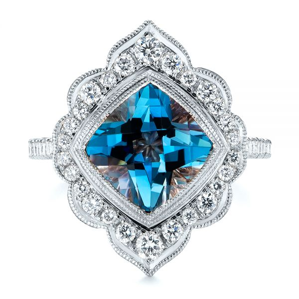 18k White Gold 18k White Gold London Blue Topaz And Diamond Ring - Top View -