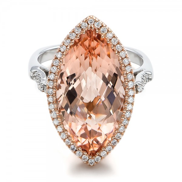 Marquise Morganite and Diamond Halo Ring - Laying View