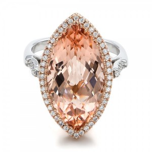 Marquise Morganite and Diamond Halo Ring