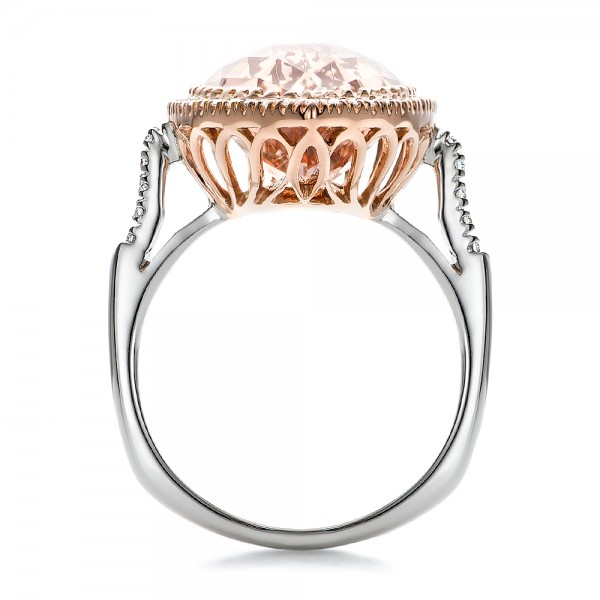 Marquise Morganite and Diamond Halo Ring - Finger Through View