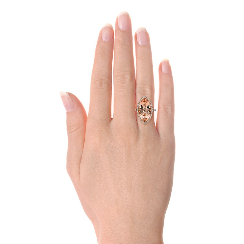 Marquise Morganite and Diamond Halo Ring - Model View