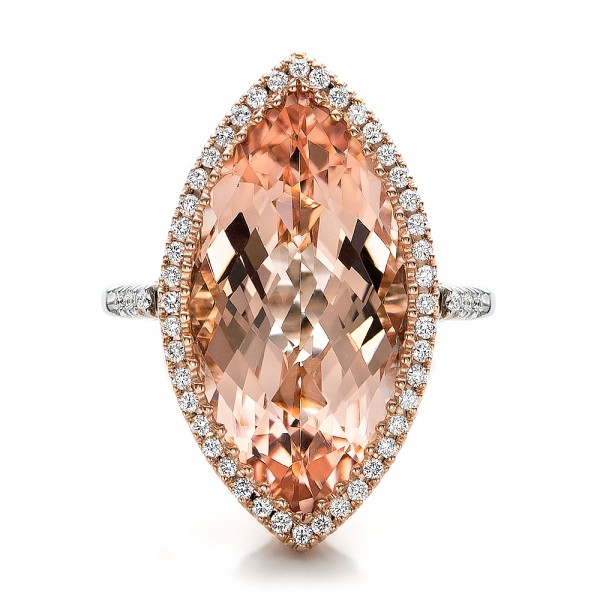 Marquise Morganite and Diamond Halo Ring - Top View