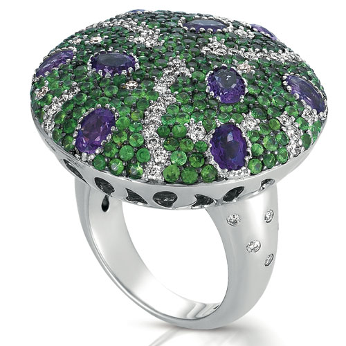 Micro-pave Amethyst Tanzanite And Diamond Ring - Vanna K - Three-Quarter View -  1090 - Thumbnail
