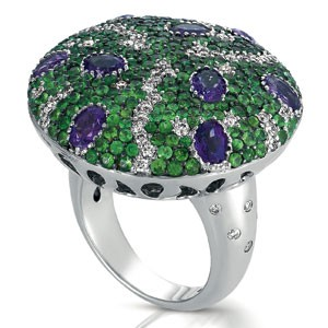 Micro-Pave Amethyst, Tanzanite and Diamond Ring - Vanna K