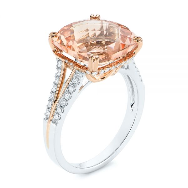 14k Rose Gold Morganite And Diamond Fashion Ring - Three-Quarter View -