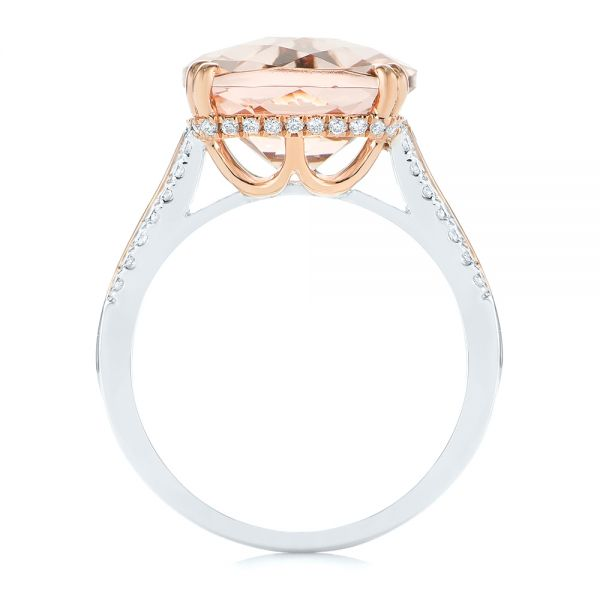 14k Rose Gold Morganite And Diamond Fashion Ring - Front View -
