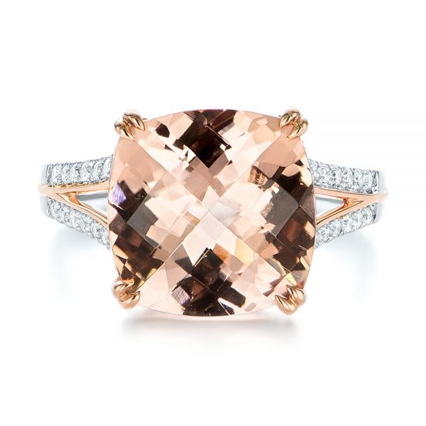 14k Rose Gold Morganite And Diamond Fashion Ring - Top View -