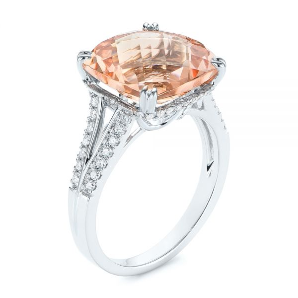 18k White Gold 18k White Gold Morganite And Diamond Fashion Ring - Three-Quarter View -  105009