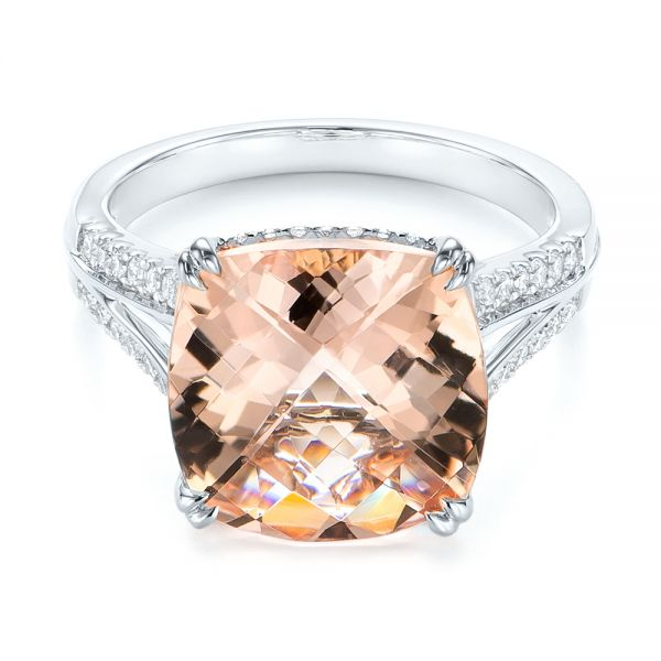 18k White Gold 18k White Gold Morganite And Diamond Fashion Ring - Flat View -  105009