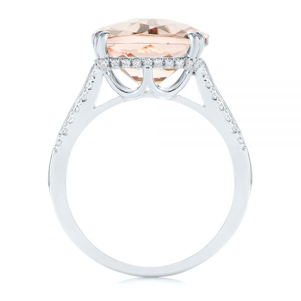 18k White Gold 18k White Gold Morganite And Diamond Fashion Ring - Front View -  105009