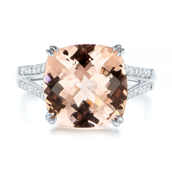 18k White Gold 18k White Gold Morganite And Diamond Fashion Ring - Top View -  105009