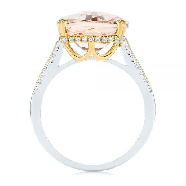18k Yellow Gold 18k Yellow Gold Morganite And Diamond Fashion Ring - Front View -  105009