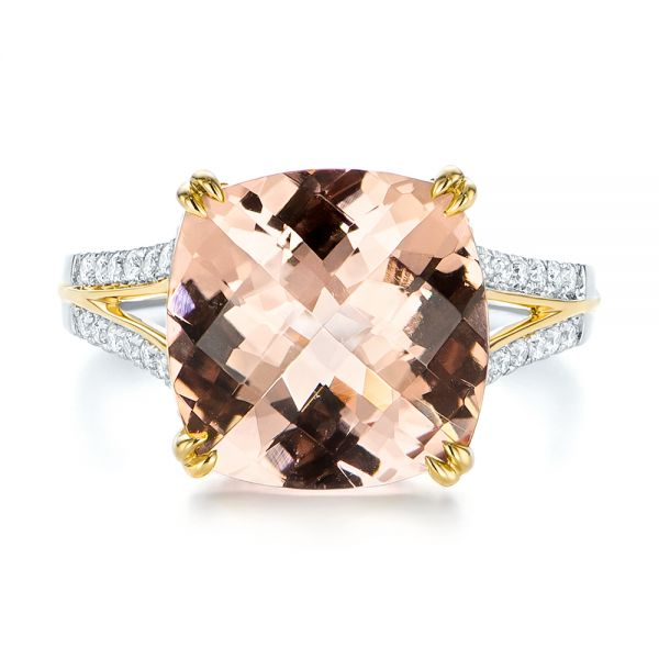 18k Yellow Gold 18k Yellow Gold Morganite And Diamond Fashion Ring - Top View -  105009