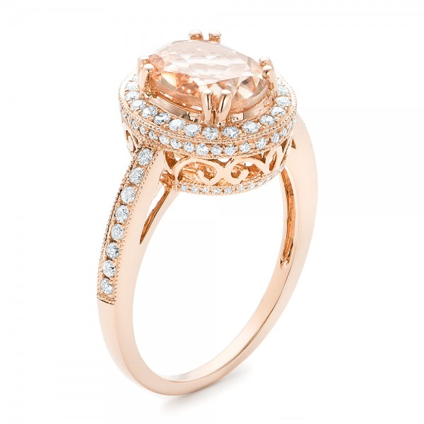 Morganite and Diamond Halo Fashion Ring - Three-Quarter View -  102532 - Thumbnail