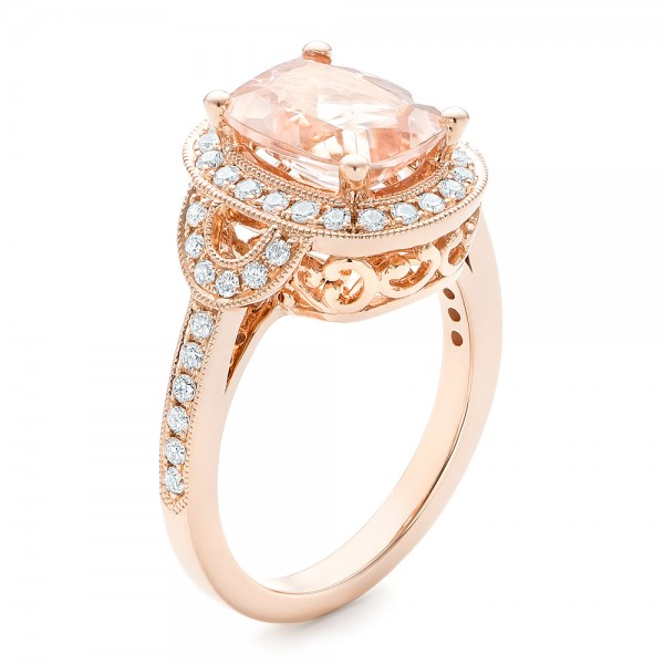 Morganite And Diamond Halo Fashion Ring 102534 Seattle