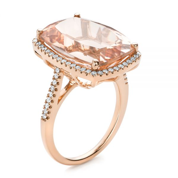Morganite And Diamond Halo Fashion Ring - Three-Quarter View -