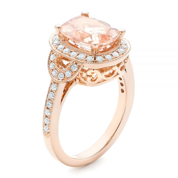 Morganite and Diamond Halo Fashion Ring - Image