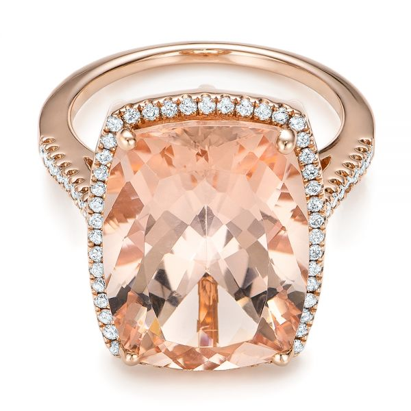 Morganite And Diamond Halo Fashion Ring - Flat View -