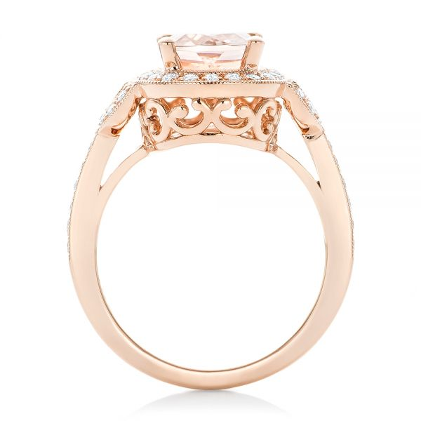Morganite And Diamond Halo Fashion Ring - Front View -  102533