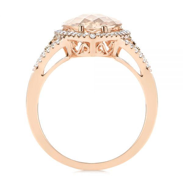 14k Rose Gold Morganite And Diamond Halo Fashion Ring - Front View -  103759