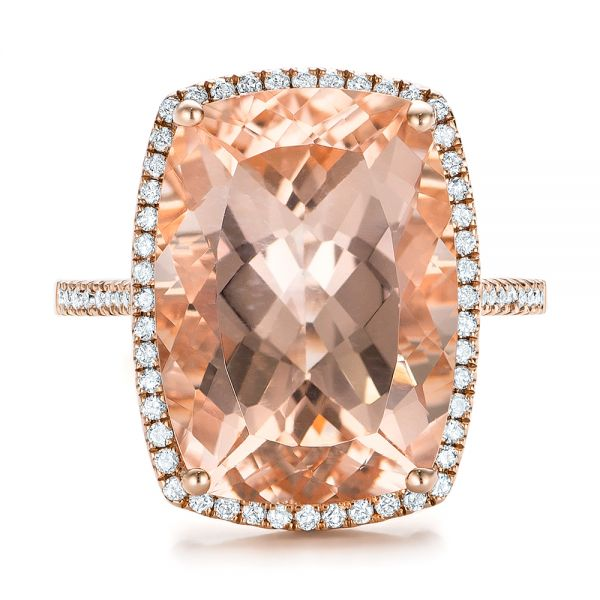 Morganite And Diamond Halo Fashion Ring - Top View -