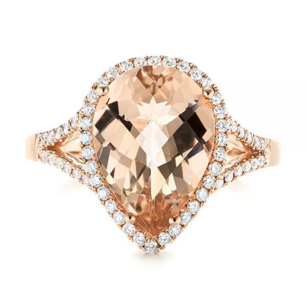 14k Rose Gold Morganite And Diamond Halo Fashion Ring - Top View -  103759
