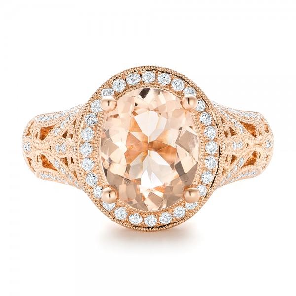 Morganite and Diamond Halo Fashion Ring - Top View
