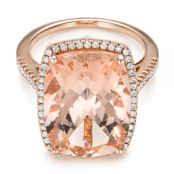 Morganite and Diamond Halo Fashion Ring - Laying View