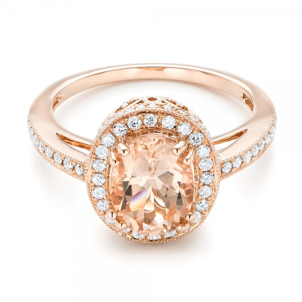 Morganite and Diamond Halo Fashion Ring - Flat View -  102532 - Thumbnail